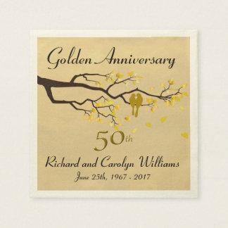 Golden Anniversary Love Birds Paper Napkin