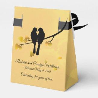 Golden Anniversary Lovebirds Favor Box