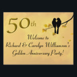 "Golden Anniversary Lovebirds Lawn Sign<br><div class=""desc"">Decorate for a fiftieth wedding anniversary with beautiful golden lovebirds yard sign. A tree with golden leaves, lovebirds and a birdhouse with ""50th"" hanging from the branches will make a wonderful announcement for the party. Give directions on the back side or use the text templates to create your own message....</div>"