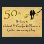 """Golden Anniversary Lovebirds Lawn Sign<br><div class=""""desc"""">Decorate for a fiftieth wedding anniversary with beautiful golden lovebirds yard sign. A tree with golden leaves, lovebirds and a birdhouse with """"50th"""" hanging from the branches will make a wonderful announcement for the party. Give directions on the back side or use the text templates to create your own message....</div>"""