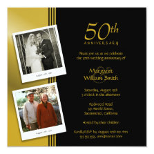 Golden Anniversary Party Plus 2 Photos 5.25x5.25 Square Paper Invitation Card