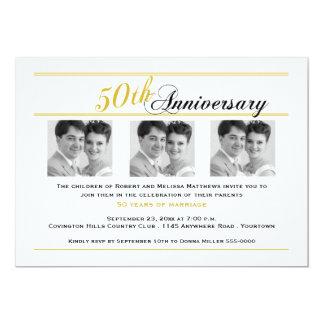 Golden Anniversary Three Photo Invitation