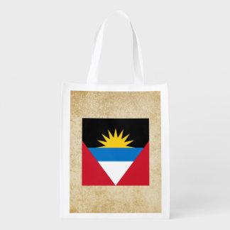 Golden Antigua and Barbuda Flag Reusable Grocery Bag