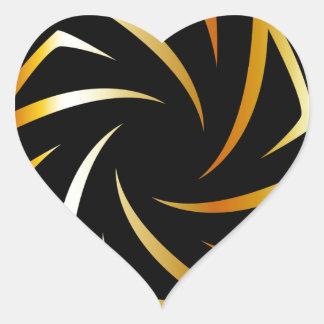 Golden aperture heart sticker
