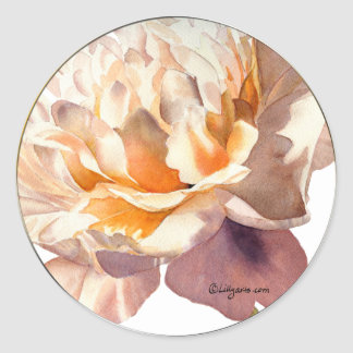 Golden Apricot Peony Wedding Envelope Seals Classic Round Sticker