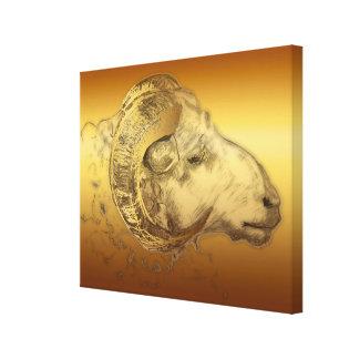 Golden Aries Ram Chinese Zodiac Canvas