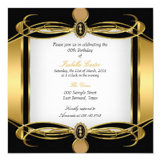 Golden Art Deco Black White Pearl Birthday Party Card