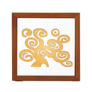 Golden art nouveau style tree desk organiser