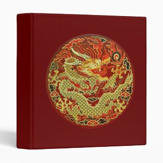Golden asian dragon embroidered on dark red 3 ring binder