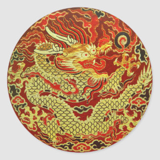 Golden asian dragon embroidered on dark red classic round sticker