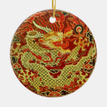 Golden asian dragon embroidered on dark red Double-Sided ceramic round christmas ornament