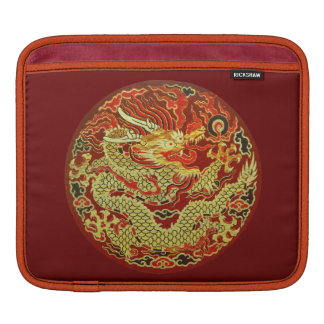 Golden asian dragon embroidered on dark red iPad sleeve