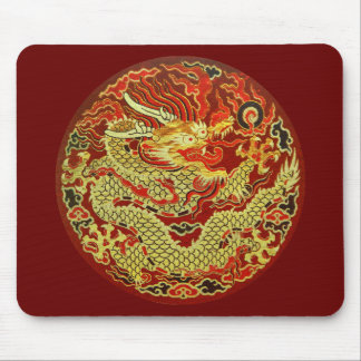 Golden asian dragon embroidered on dark red mouse pad