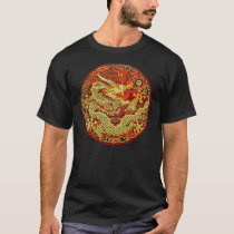 Golden asian dragon embroidered on dark red T-Shirt