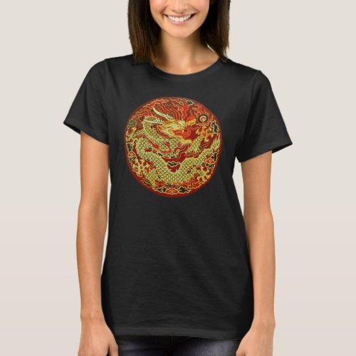 Golden asian dragon embroidered on dark red T_Shirt