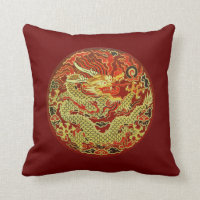 Golden asian dragon embroidered on dark red throw pillow
