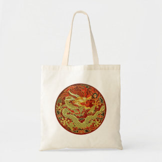 Golden asian dragon embroidered on dark red tote bag