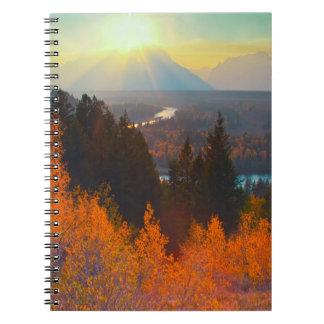 Golden Aspens Above Snake River At Sunset Notebook