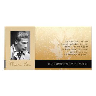 Golden Asphodel Frame Photo Sympathy Thank You 2 Card