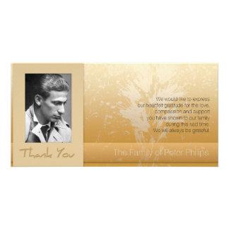 Golden Asphodel Frame Photo Sympathy Thank You P Card