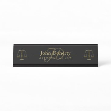 Golden ATTORNEY AT LAW | Initials Desk Name Plate