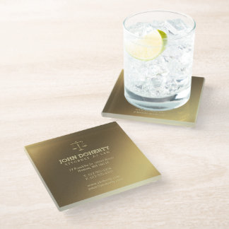 Golden Attorney at Law | Lawyer's contact info Glass Coaster