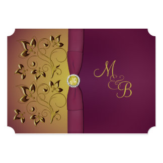 Golden Aubergine Floral Monogrammed Invitation
