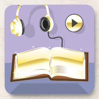 Golden Audiobook Vector Art Icon Beverage Coaster