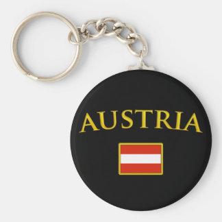 Golden Austria Basic Round Button Keychain