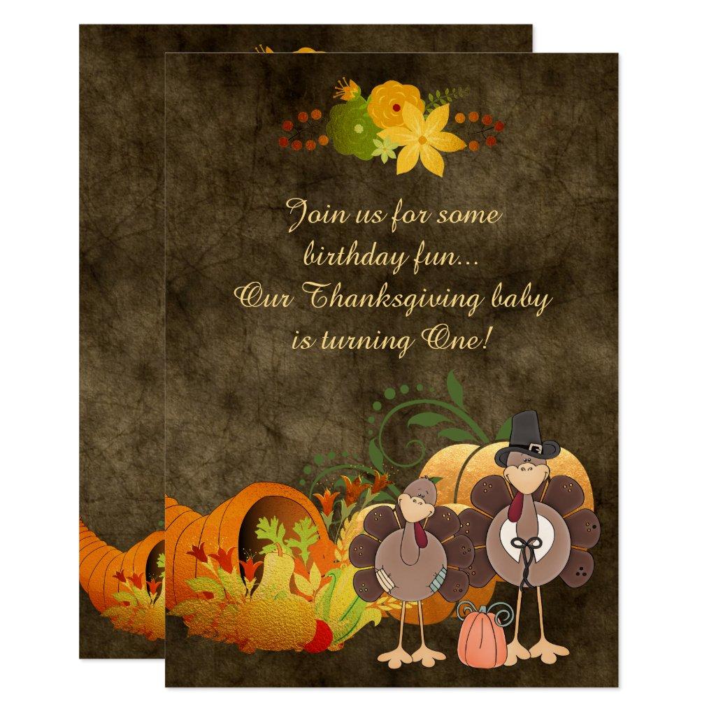Golden Autumn Boy Turkey Thanksgiving 1st Birthday Card