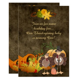Golden Autumn Boy Turkey Thanksgiving 1st Birthday Card