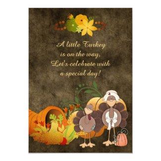 Golden Autumn Boy Turkey Thanksgiving Baby Shower 5x7 Paper Invitation Card