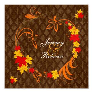 Golden Autumn Flourish Wedding Personalized Announcement Cards