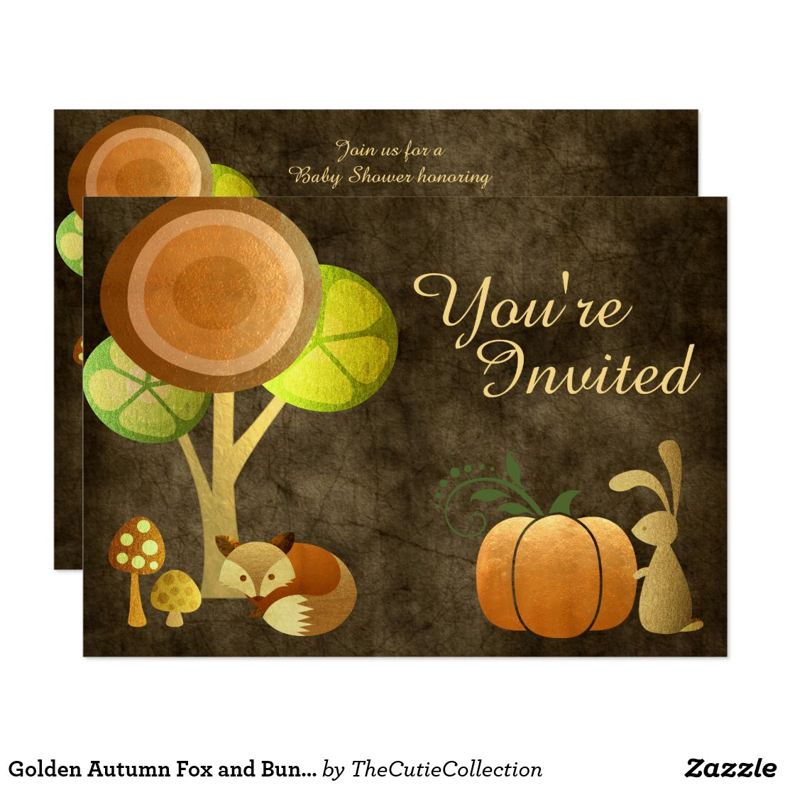 Golden Autumn Fox and Bunny Baby Shower Invitation