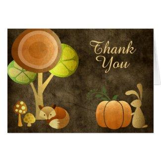 Golden Autumn Fox Bunny Woodland Animals Thank You Card
