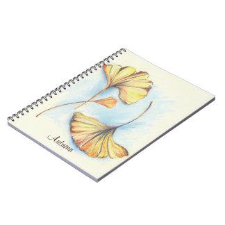 Golden Autumn Ginkgo Leaves Notebook