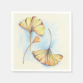 Golden Autumn Ginkgo Leaves Paper Napkin