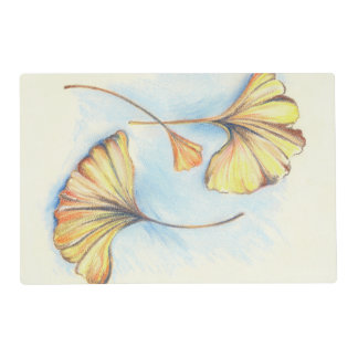 Golden Autumn Ginkgo Leaves Placemat