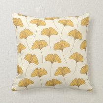 Golden Autumn Ginkgo Leaves Throw Pillow