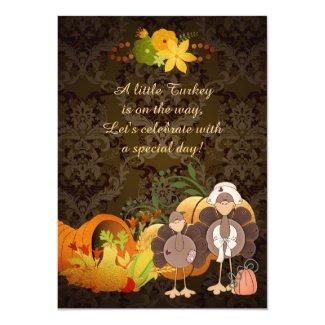 Golden Autumn Girl Turkey Thanksgiving Baby Shower 5x7 Paper Invitation Card