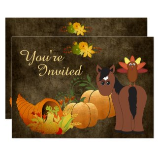 Golden Autumn Harvest and Cute Bay Horse Birthday Card