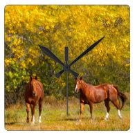 Golden Autumn Horses Square Wallclock