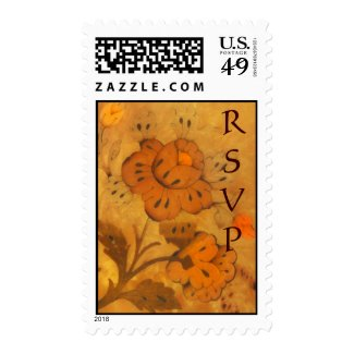 Golden Autumn Inlay Flowers RSVP Postage