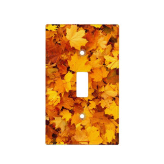 Golden Autumn Leaf Light Switch Cover