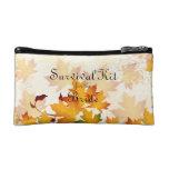 Golden Autumn Leaves Bridal Survival Kit Makeup Bag