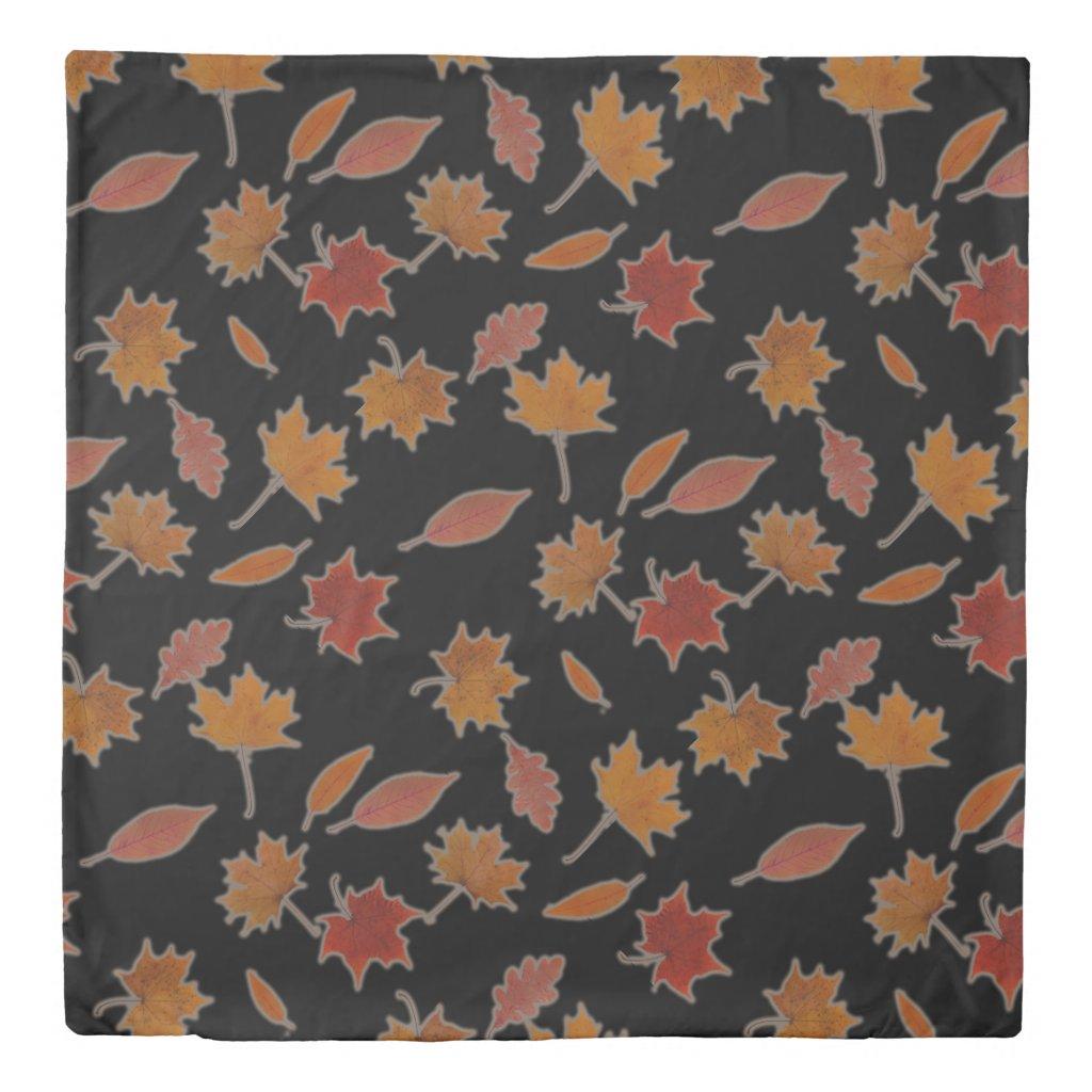 Golden Autumn Leaves on Black Custom Color