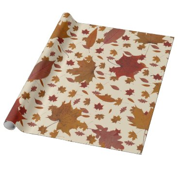 Halloween Themed Golden Autumn Leaves on Cream Custom Color Wrapping Paper