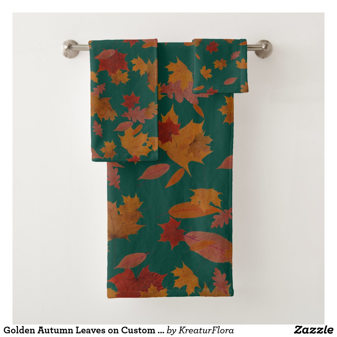 Golden Autumn Leaves on Custom Color Turquoise