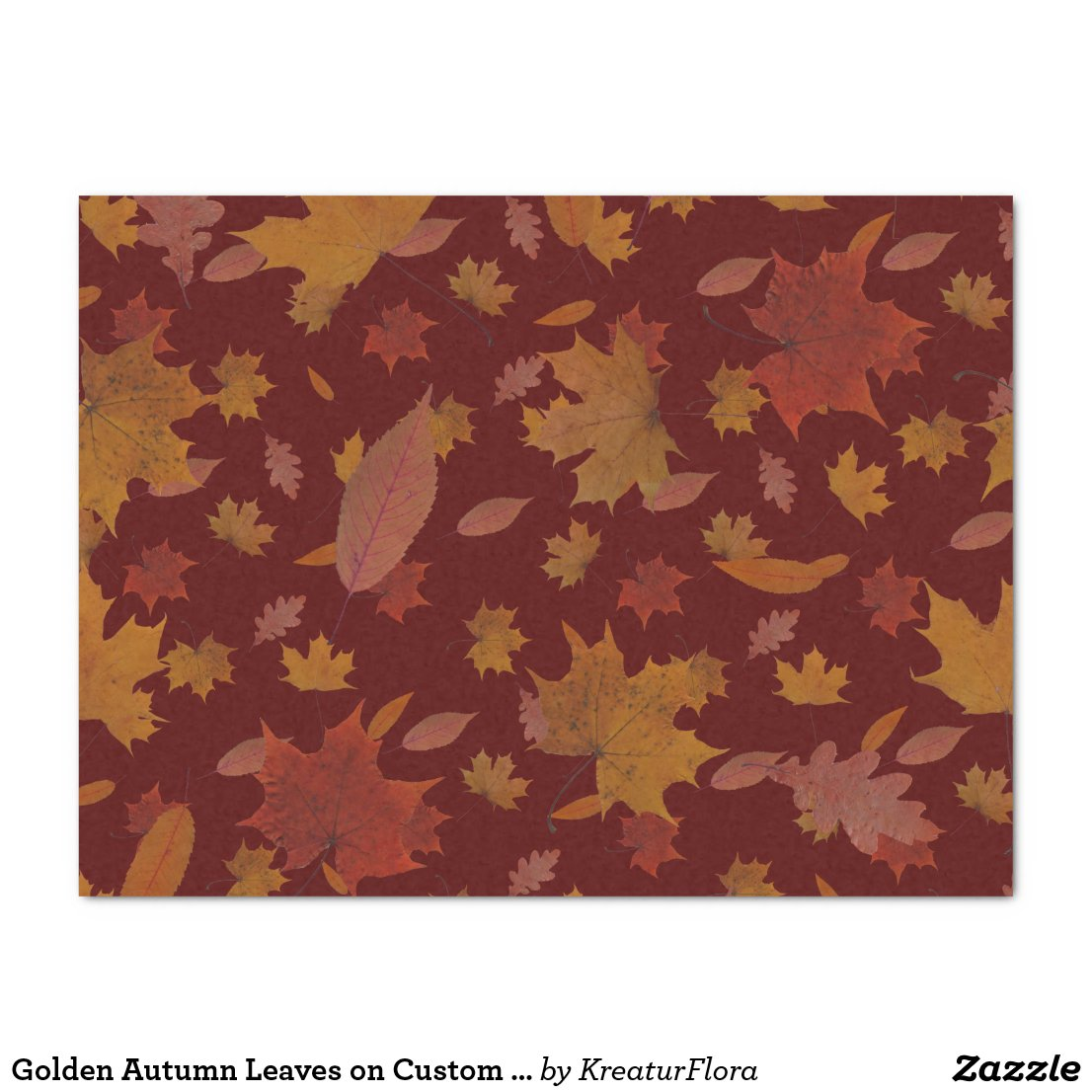 Golden Autumn Leaves on Custom Red Color