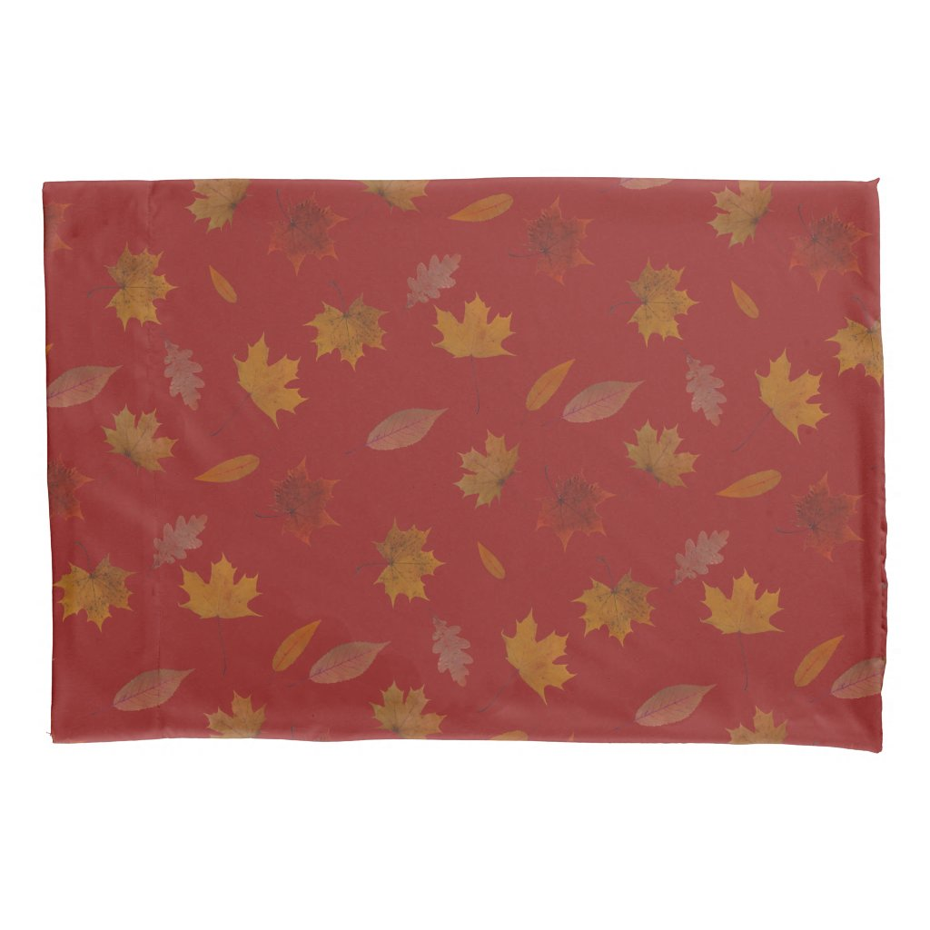 Golden Autumn Leaves on Red Custom Color